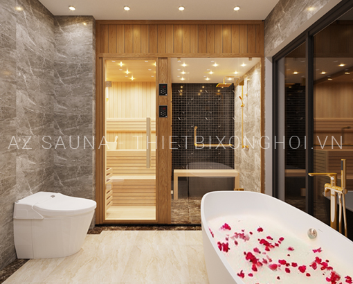 Phòng xông hơi khô và ướt kết hợp - Chị Quỳnh - Hà Nội