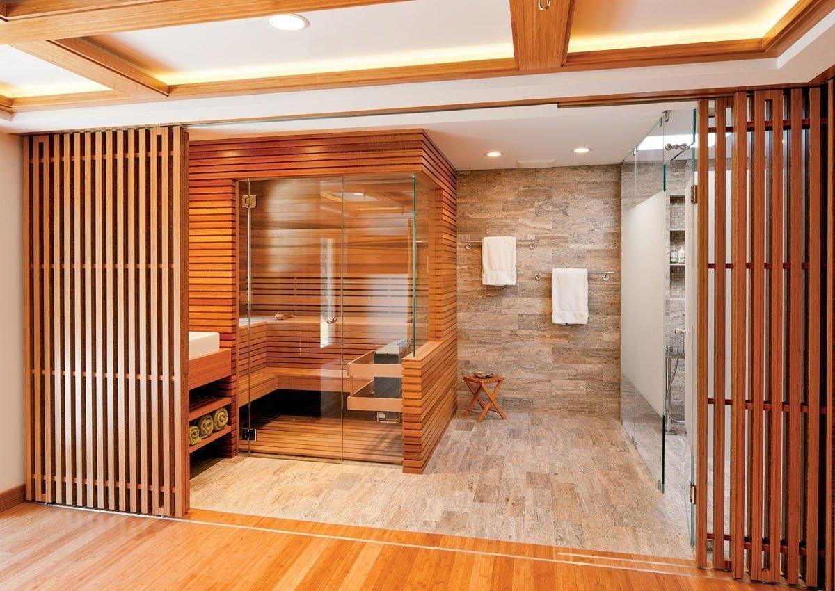 Phòng xông hơi bằng gỗ kết hợp với kính